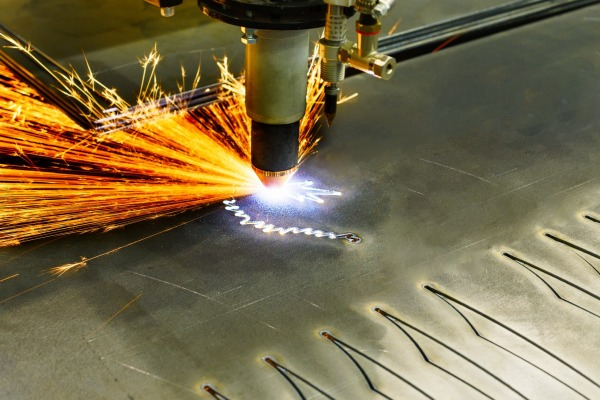 This is a photo of plasma cutting taking place