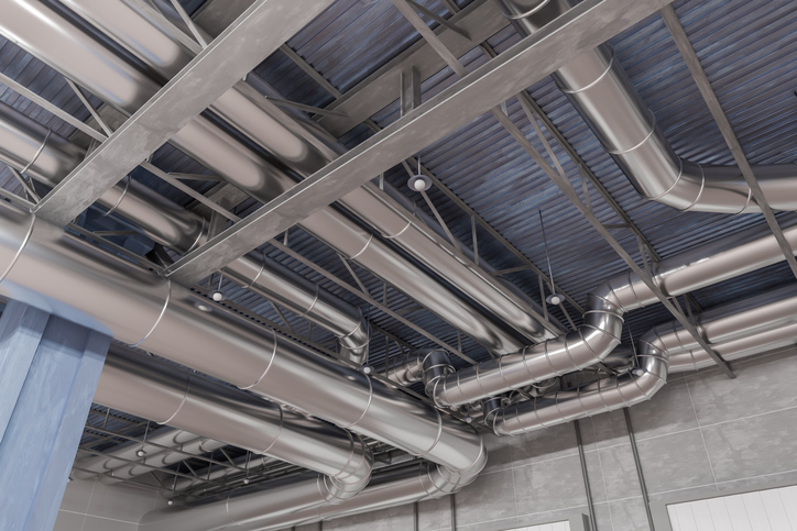 This is a photo of a rendered version of a duct system